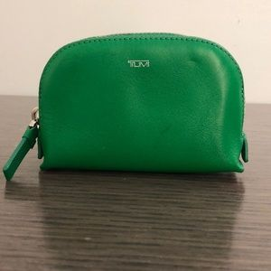 TUMI green leather pouch, 64828